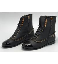Ботинки женские Chanel (Шанель) бреновые с цепочкой Black