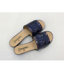 Женские шлепанцы Chanel (Шанель) Cruise комбинированные Blue