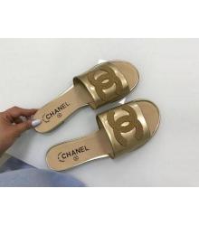 Женские шлепанцы Chanel (Шанель) Cruise комбинированные Gold
