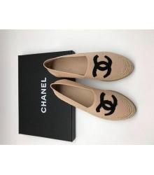 Женские эспадрильи Chanel (Шанель) Cruise кожаные Beige