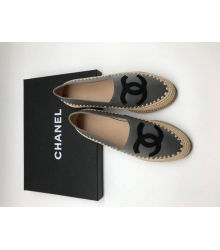 Женские эспадрильи Chanel (Шанель) Cruise кожаные Grey