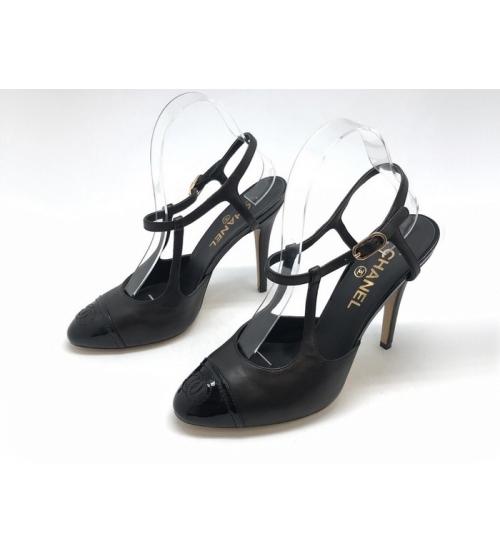 Женские босоножки Chanel (Шанель) Cruise кожаные каблук шпилька Black