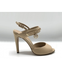 Женские босоножки Chanel (Шанель) Cruise кожаные на каблуке Beige