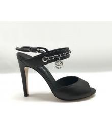 Женские босоножки Chanel (Шанель) Cruise кожаные на каблуке Black
