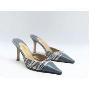 Женские мюли Chanel (Шанель) Cruise кожаные на каблуке средней длины Blue