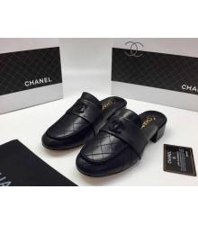 Женские мюли Chanel (Шанель) Cruise кожаные на низком каблуке Black