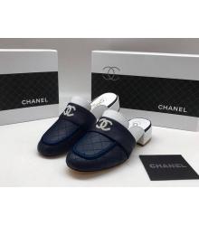 Женские мюли Chanel (Шанель) Cruise кожаные на низком каблуке Blue
