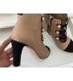 Ботильоны женские Chanel (Шанель) Cruise кожаные на среднем каблуке Beige