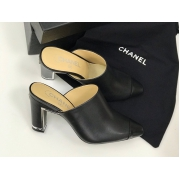 Сабо женские Chanel (Шанель) Cruise кожаные на среднем каблуке Black