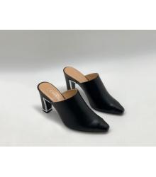 Женские сабо Chanel (Шанель) Cruise кожаные на среднем каблуке Black