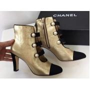 Ботильоны женские Chanel (Шанель) Cruise кожаные на среднем каблуке Gold