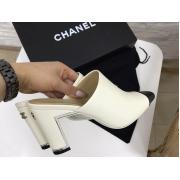 Сабо женские Chanel (Шанель) Cruise кожаные на среднем каблуке White/Black