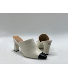 Женские сабо Chanel (Шанель) Cruise кожаные на среднем каблуке White/Black