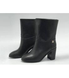 Ботильоны женские Chanel (Шанель) Cruise кожаные на толстом среднем каблуке Black