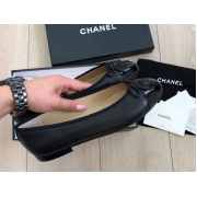 Женские балетки Chanel (Шанель) Cruise кожаные с лого Black