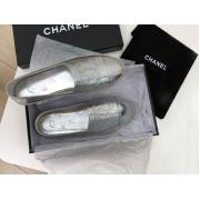 Женские эспадрильи Chanel (Шанель) Cruise кожаные Silver