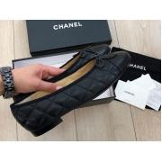 Женские балетки Chanel (Шанель) Cruise кожаные стеганые с лого Black