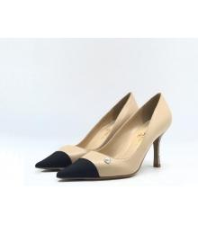 Женские туфли Chanel (Шанель) Cruise летние кожаные каблук шпилька Beige/Black