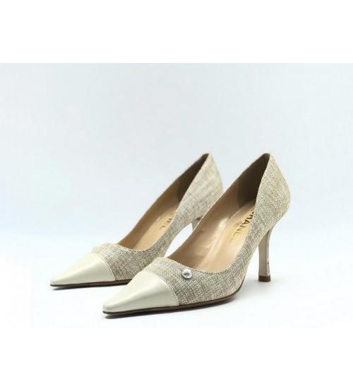 Женские туфли Chanel (Шанель) Cruise летние текстиль каблук шпилька Gray