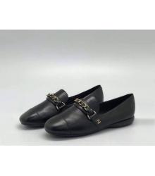 Лоферы женские Chanel (Шанель) Cruise летние кожаные на низком каблуке Black