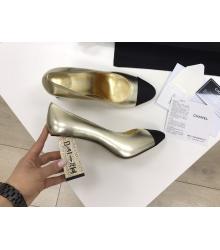 Женские туфли Chanel (Шанель) Cruise летние кожаные высокий каблук с лого Gold/Black