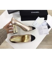 Женские туфли Chanel (Шанель) Cruise летние кожаные высокий каблук с лого Gold