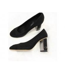 Женские туфли Chanel (Шанель) Cruise летние на высоком каблуке Black
