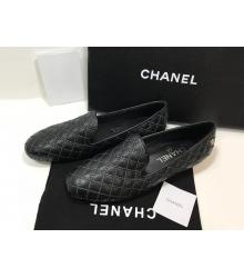 Лоферы женские Chanel (Шанель) Cruise летние стеганые кожаные на низком каблуке Black