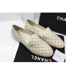 Лоферы женские Chanel (Шанель) Cruise летние стеганые кожаные на низком каблуке White