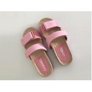 Шлепанцы женские Chanel (Шанель) Cruise летние текстиль на липучке Pink