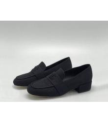 Лоферы женские Chanel (Шанель) Cruise летние текстиль на среднем каблуке Black