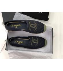 Женские эспадрильи Chanel (Шанель) Cruise летние текстиль с лого Black