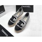 Женские эспадрильи Chanel (Шанель) Cruise летние текстиль с лого Gray/Black