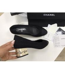 Женские туфли Chanel (Шанель) Cruise летние текстиль средний каблук с лого Black