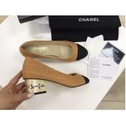 Женские туфли Chanel (Шанель) Cruise летние текстиль средний каблук с лого Sand