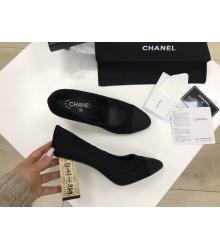 Женские туфли Chanel (Шанель) Cruise летние текстиль высокий каблук с лого Black