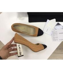 Женские туфли Chanel (Шанель) Cruise летние текстиль высокий каблук с лого Sand