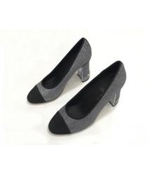 Женские туфли Chanel (Шанель) Cruise летние твид на высоком каблуке Black