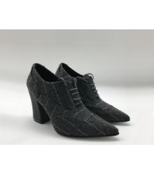Женские ботильоны Chanel (Шанель) Cruise шерстяные на толстом каблуке на шнурках Black