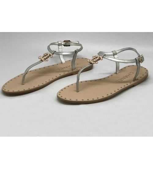 Женские сандалии Chanel (Шанель) Cruise Silver