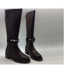 Женские сапоги Chanel (Шанель) Cruise со шнуровкой Bordo