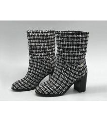 Ботильоны женские Chanel (Шанель) Cruise текстиль на толстом каблуке в клетку Black/White