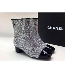 Ботильоны женские Chanel (Шанель) Cruise со стразами на толстом среднем каблуке Silver/Black