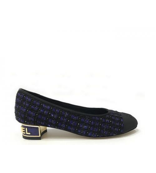 Туфли-лодочки женские Chanel (Шанель) Cruise твид каблук невысокий Dark Blue