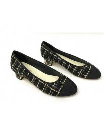 Туфли-лодочки женские Chanel (Шанель) Cruise твид каблук невысокий темные Black/Gold