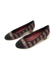 Туфли-лодочки женские Chanel (Шанель) Cruise твид каблук невысокий темные Bordo