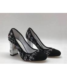 Туфли-лодочки женские Chanel (Шанель) Cruise твид каблук высокий Black