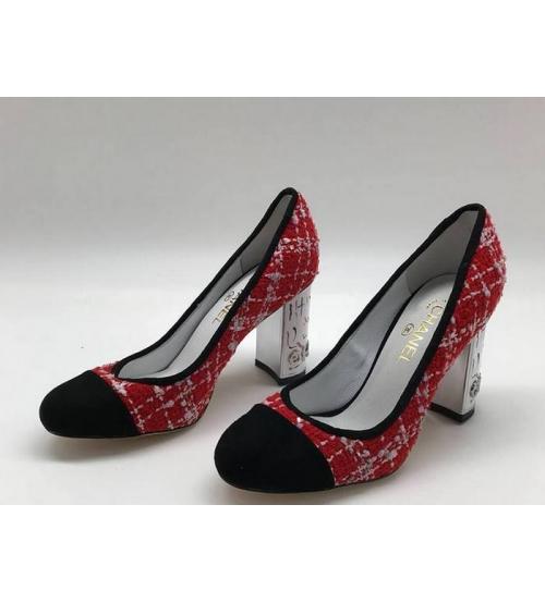Туфли-лодочки женские Chanel (Шанель) Cruise твид каблук высокий Red
