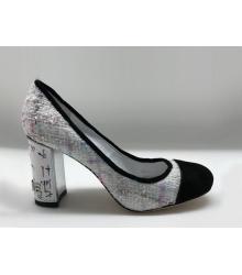 Туфли-лодочки женские Chanel (Шанель) Cruise твид каблук высокий White