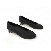 Балетки женские Chanel (Шанель) Cruise твид летние на каблуке Black